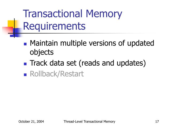 Transactional Memory Requirements