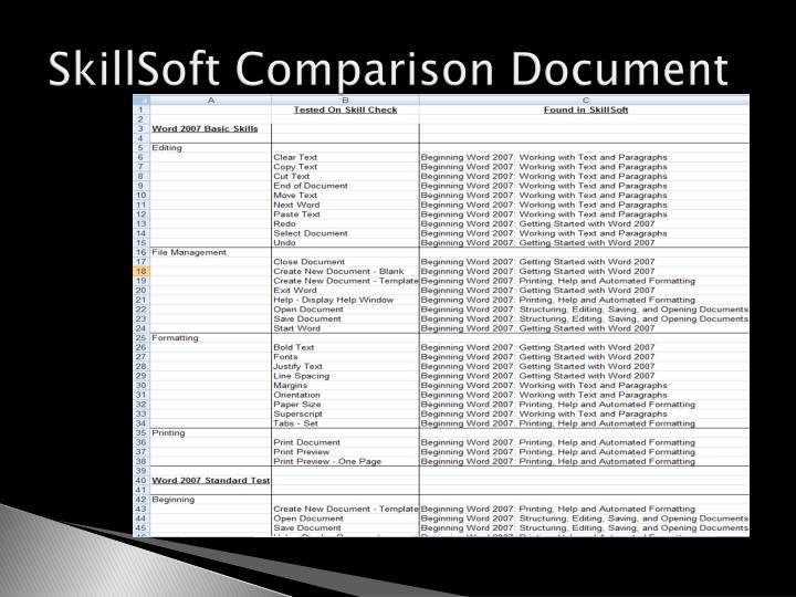 SkillSoft Comparison Document