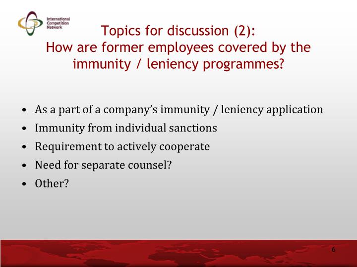 Topics for discussion (2):