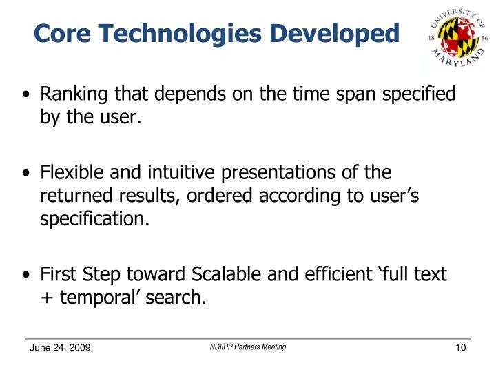 Core Technologies Developed