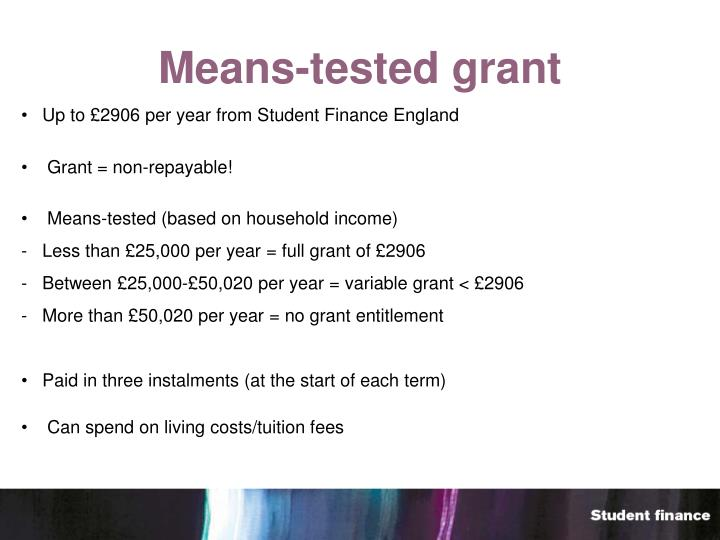 Means-tested grant