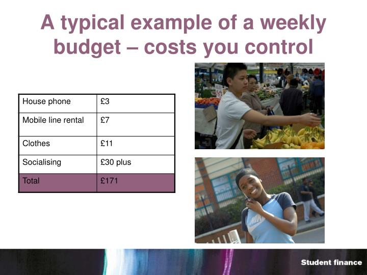 A typical example of a weekly budget – costs you control