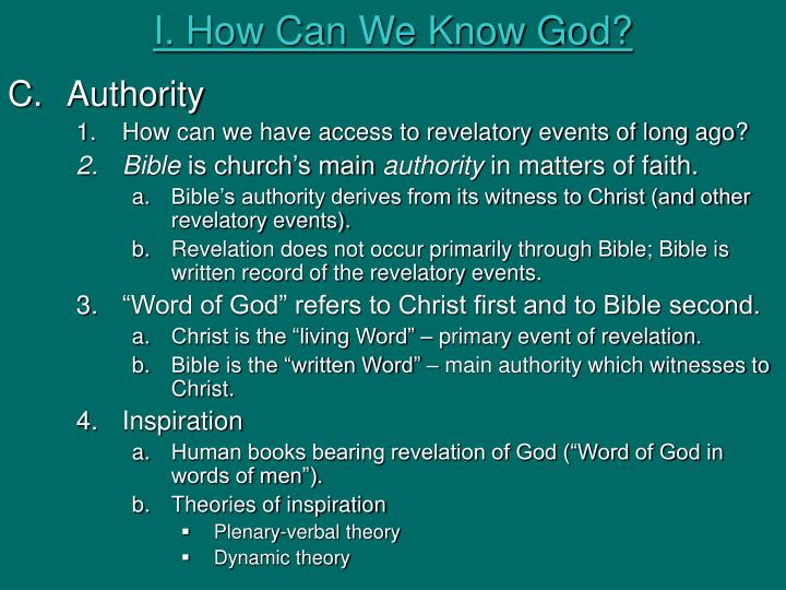 I. How Can We Know God?