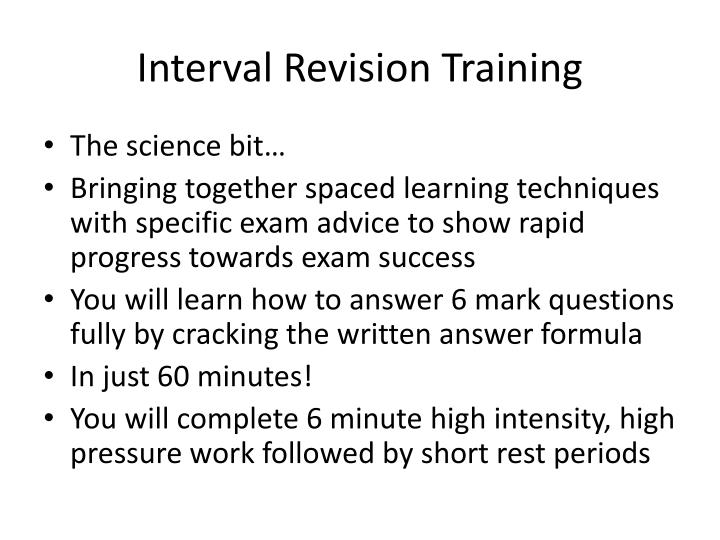 Interval revision training
