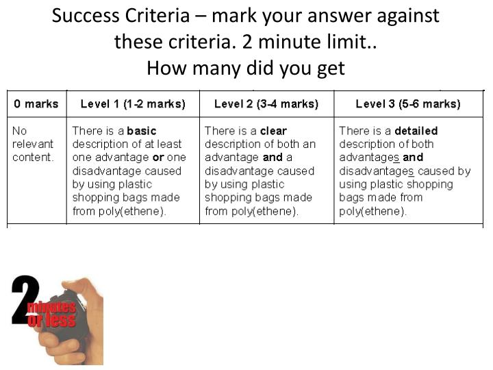 Success Criteria – mark your answer against these criteria. 2 minute limit..