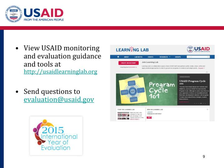 View USAID monitoring and evaluation guidance and tools at