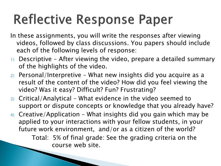 Reflective Response Paper