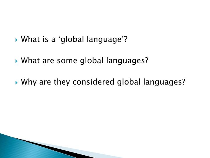 What is a 'global language'?