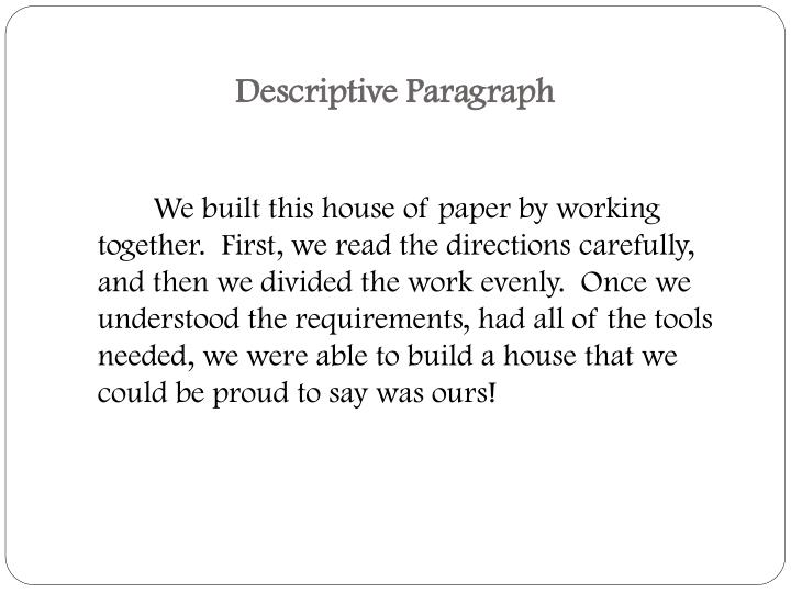 Descriptive Paragraph