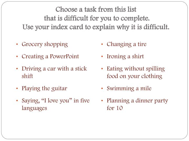 Choose a task from this list
