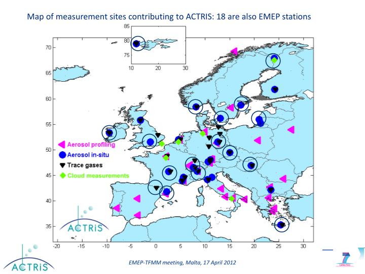 Map of measurement sites contributing to ACTRIS: 18 are also EMEP stations