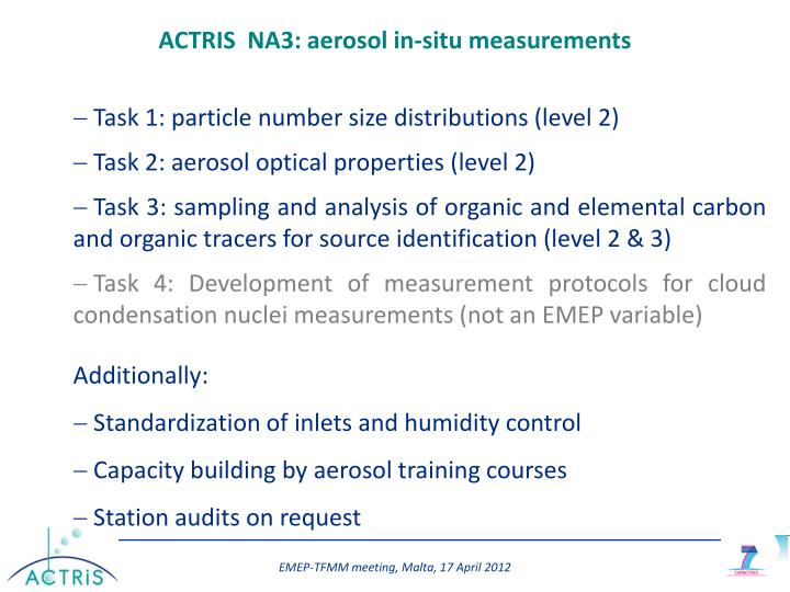 ACTRIS  NA3: aerosol in-situ measurements