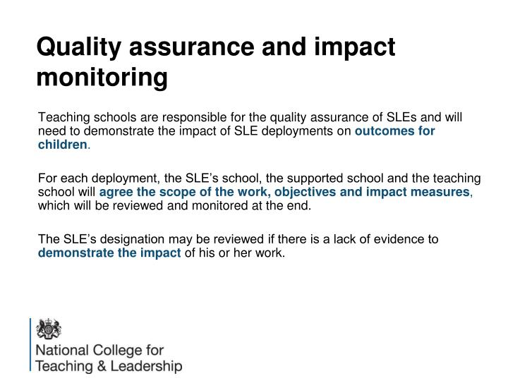 Quality assurance and impact monitoring