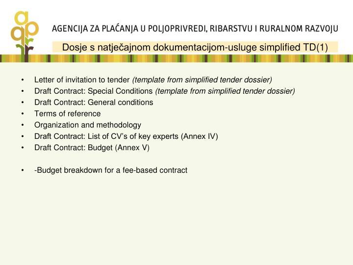Dosje s natječajnom dokumentacijom-usluge simplified TD(1)