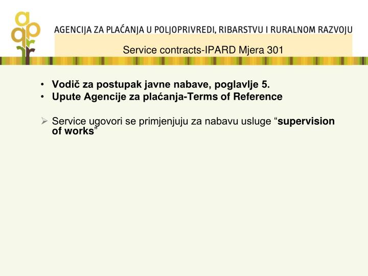 Service contracts-IPARD Mjera 301