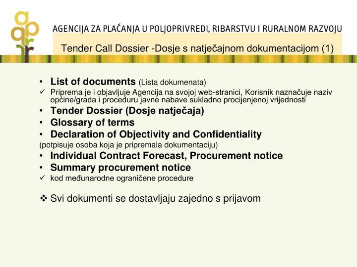Tender Call Dossier -Dosje s natječajnom dokumentacijom (1)
