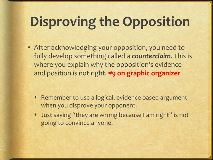 Disproving the Opposition