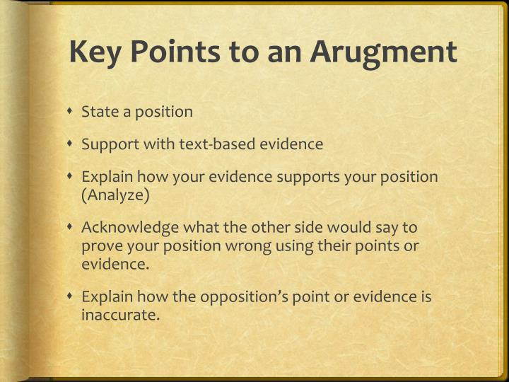 Key Points to an Arugment