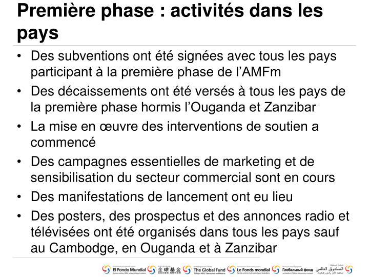 Première phase : activités dans les pays