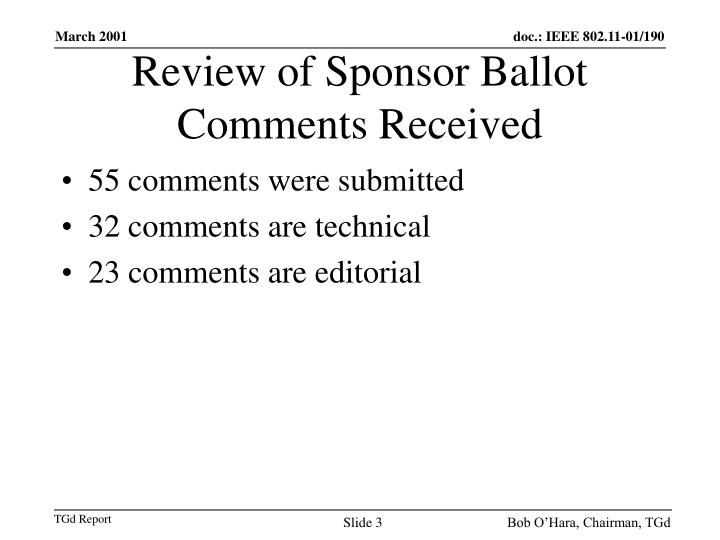 Review of Sponsor Ballot Comments Received