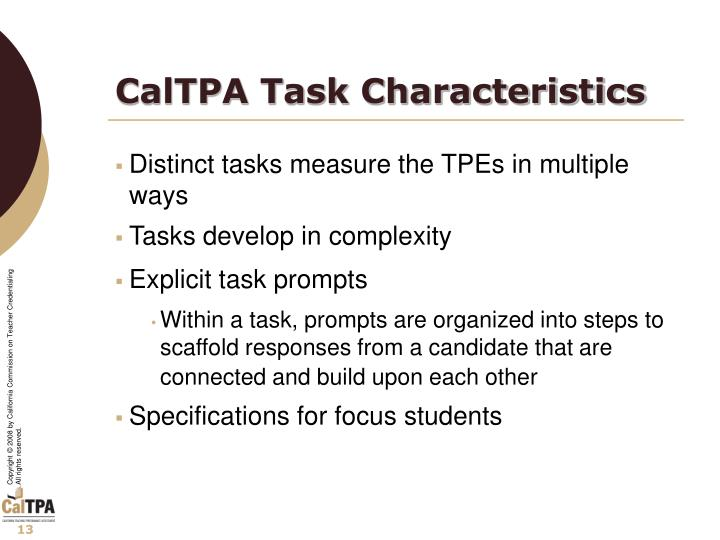 CalTPA Task Characteristics