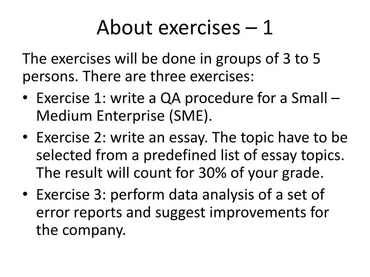About exercises – 1