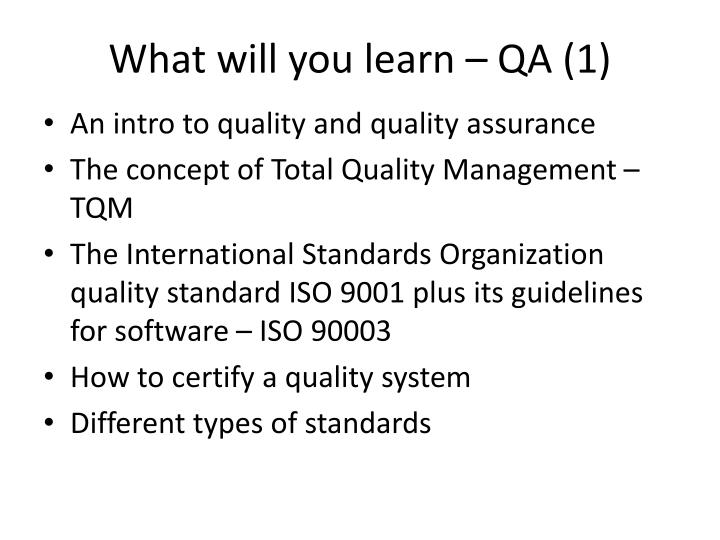 What will you learn – QA (1)