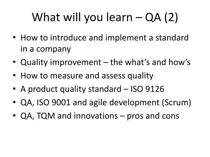 What will you learn – QA (2)