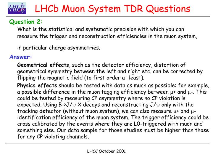 Lhcb muon system tdr questions1
