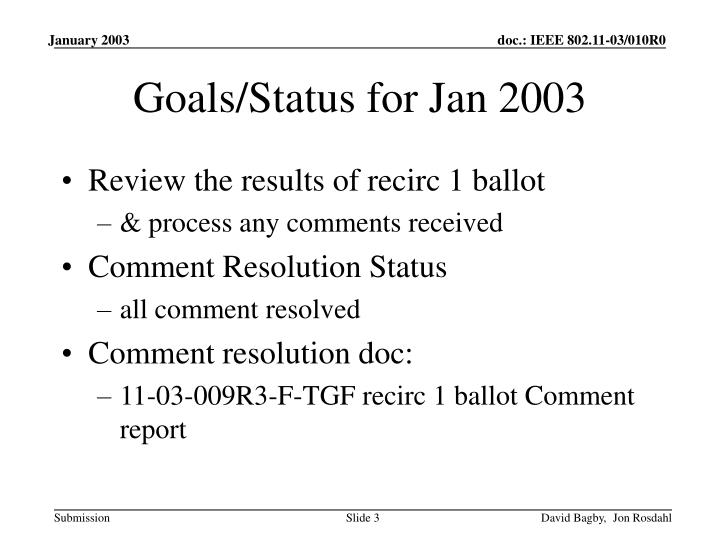 Goals status for jan 2003