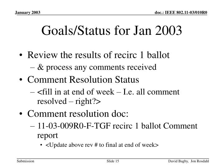 Goals/Status for Jan 2003