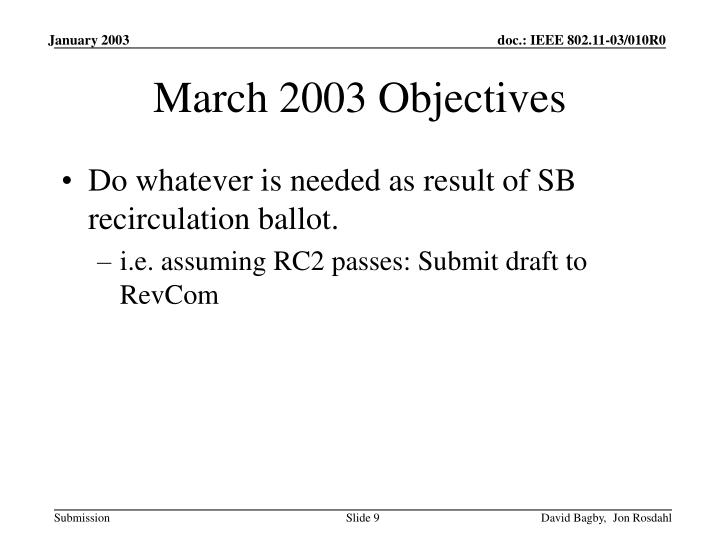 March 2003 Objectives