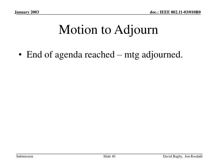 Motion to Adjourn