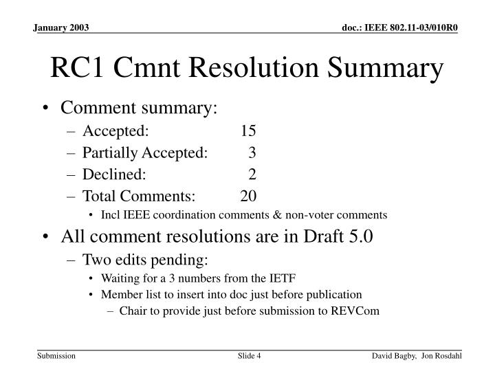 RC1 Cmnt Resolution Summary