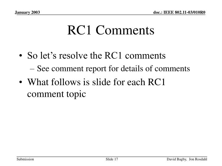 RC1 Comments