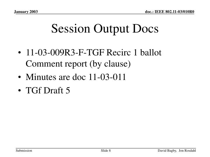 Session Output Docs