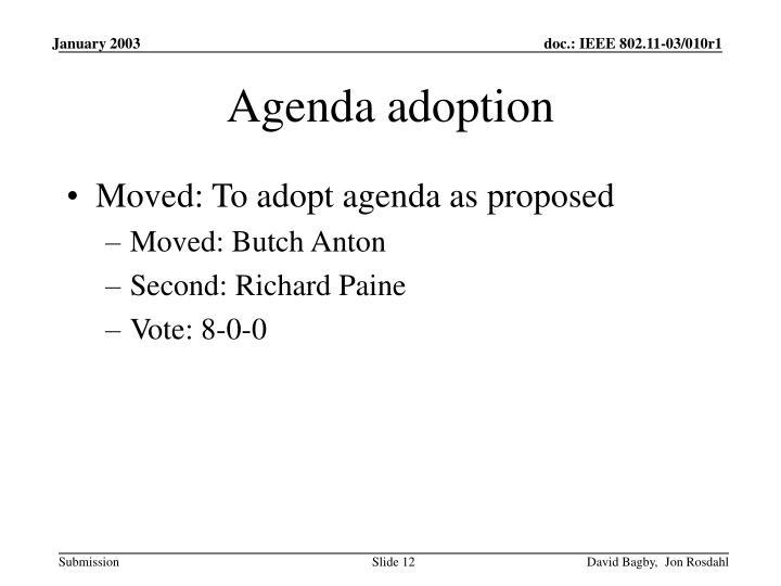 Agenda adoption