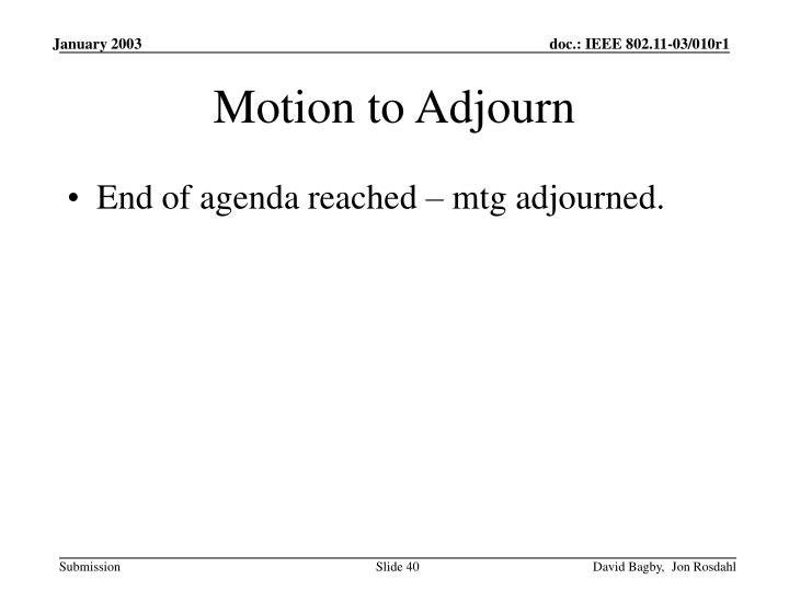 Motion to Adjourn