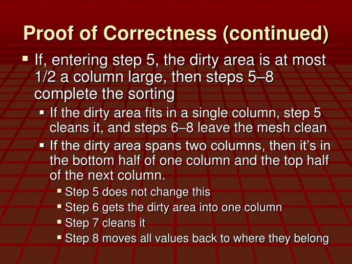 Proof of Correctness (continued)