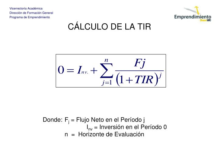 CÁLCULO DE LA TIR