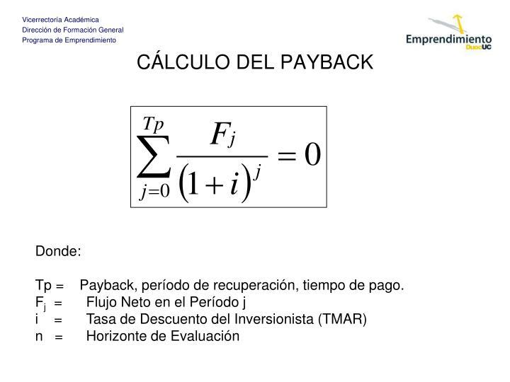 CÁLCULO DEL PAYBACK