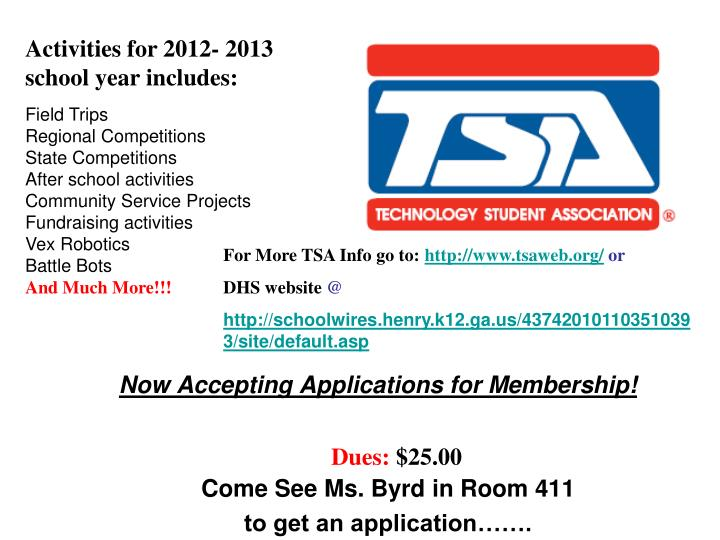 Now accepting applications for membership come see ms byrd in room 411 to get an application