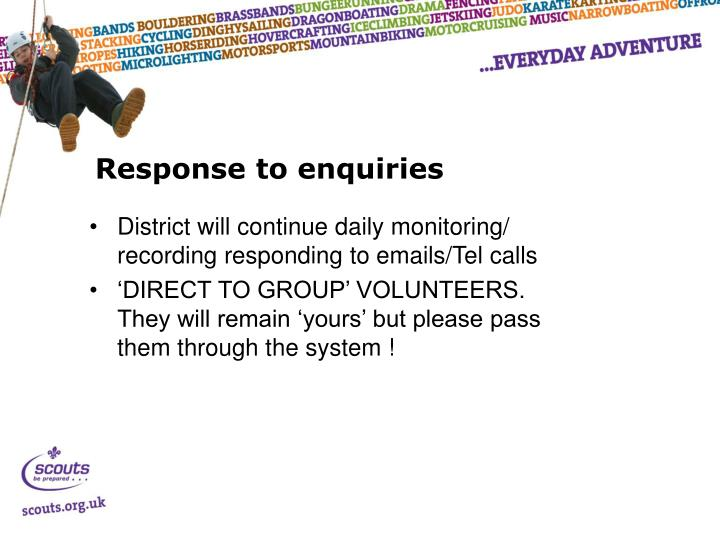 Response to enquiries