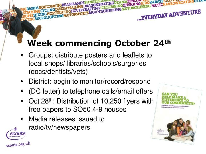 Week commencing October 24