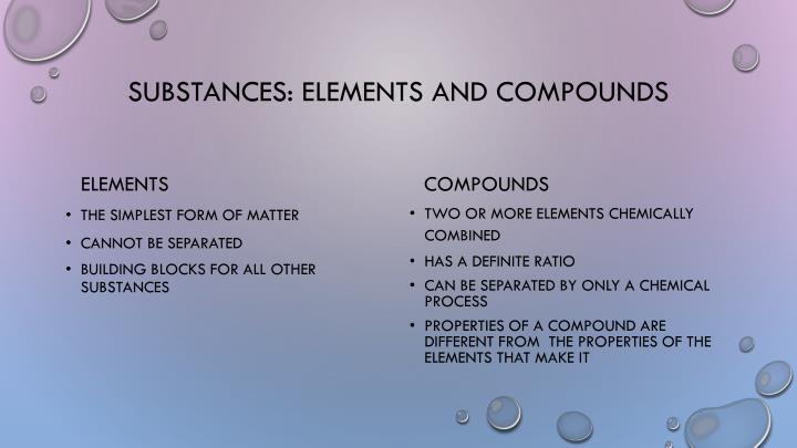 Substances: Elements and Compounds