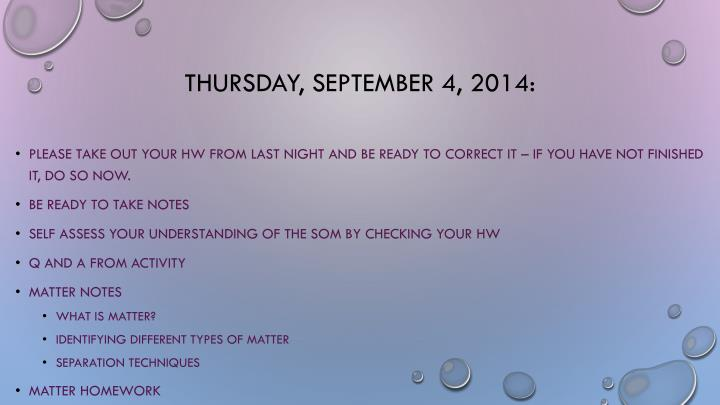 thursday september 4 2014