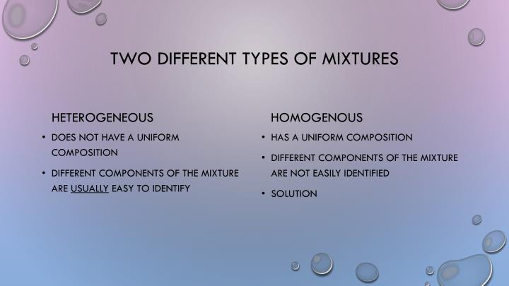 Two different types of mixtures