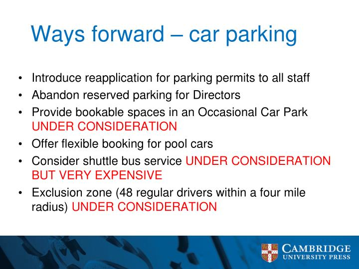 Ways forward car parking