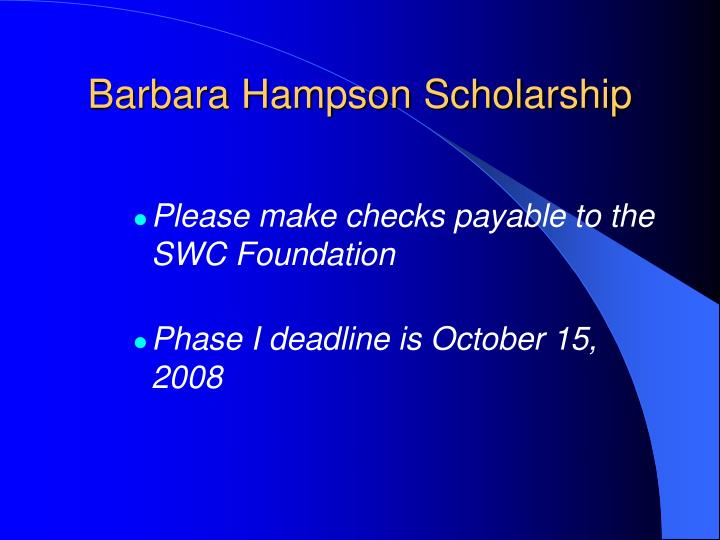 Barbara Hampson Scholarship