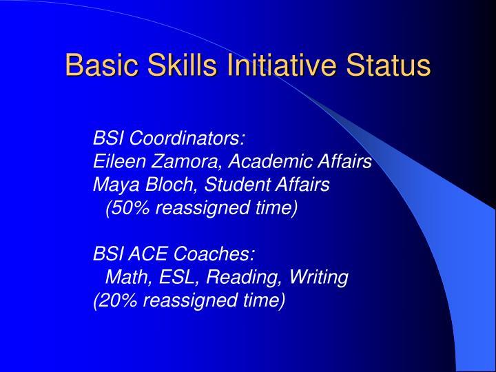 Basic Skills Initiative Status